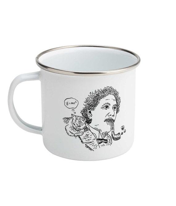 Einstein's Cat - Enamel Camping Mug - Portrait Design - Illustrated Mug by Oliver Lake