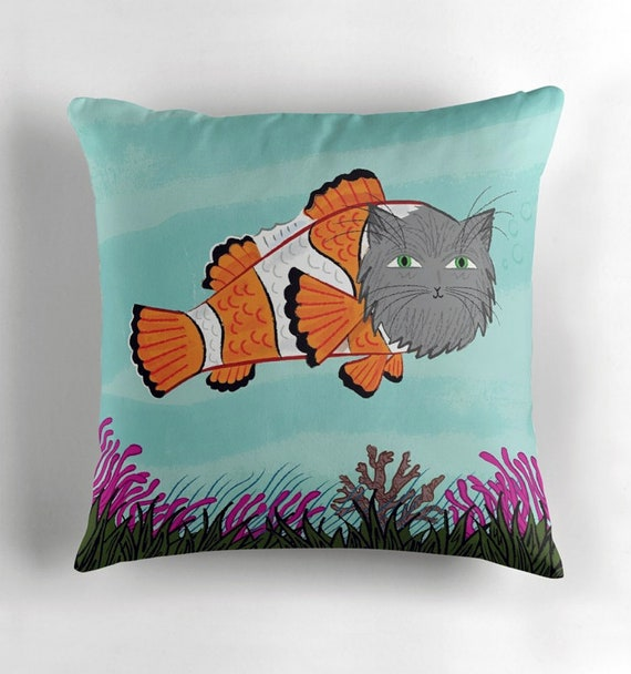 Catfish - Throw Pillow / Cushion Cover including insert by Oliver Lake / iOTA iLLUSTRATION