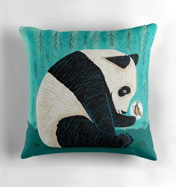 The Panda and The Butterfly - turquoise - animal design - throw pillow  / cushion including insert by Oliver Lake / iOTA iLLUSTRATION