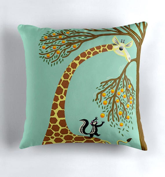 Lending A Neck - Children's Cushion Cover / Throw Pillow Cover - Animal art by Oliver Lake - iOTA iLLUSTRATiON