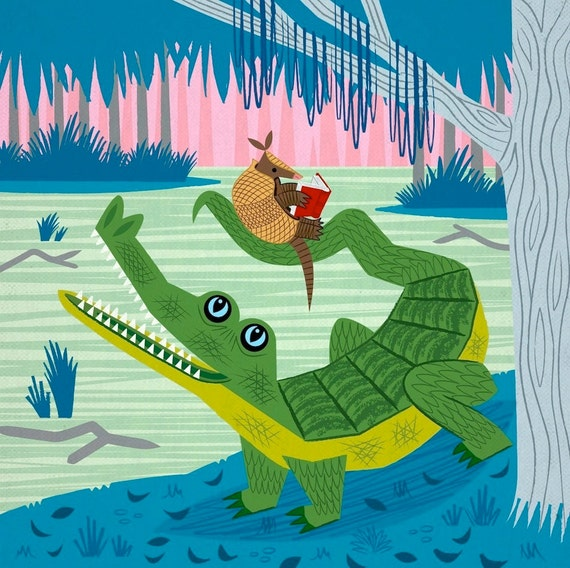 The Alligator and The Armadillo - Animal illustration - Children's Decor - Nursery Art - Children's Poster - Ltd Edition Art Print - iOTA