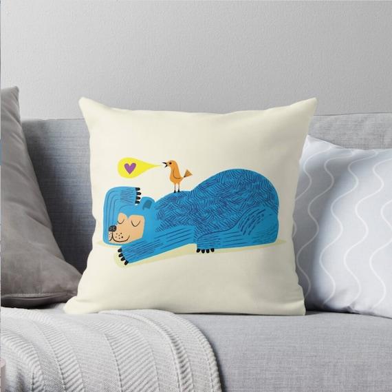 "The Bear and The Bird - Children's Decor - Throw Pillow / Cushion Cover (16"" x 16"") iOTA iLLUSTRATION"