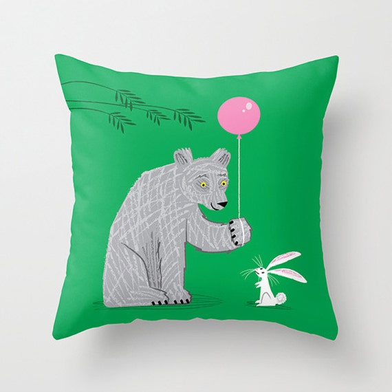 """The Bear and The Bunny -  illustrated Cushion Cover / Throw Pillow (16"""" x 16"""") by Oliver Lake"""