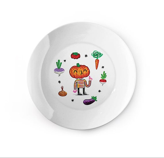 Do You Like Vegetables? - china plate - children's dish - animal design by Oliver Lake iOTA iLLUSTRATiON
