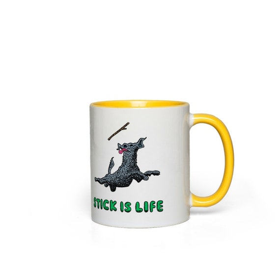 Stick Is Life - funny dog - Accent Mug by Oliver Lake iOTA iLLUSTRATiON