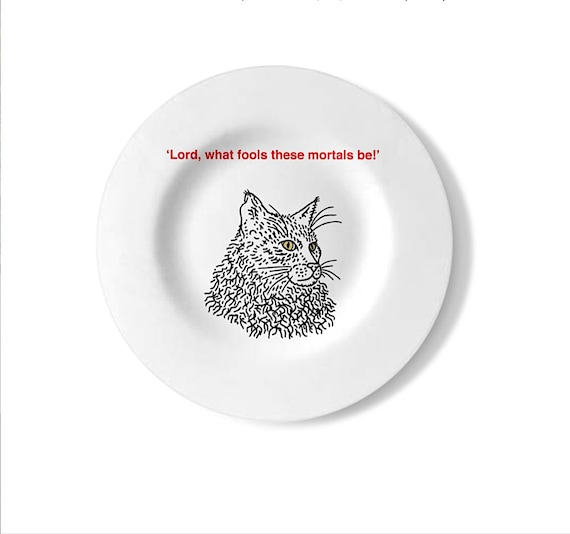 Shakespearean Cats (No.1), cat plate, decorative wall plate, handmade, black and white plate, by Oliver Lake