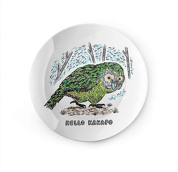 Hello Kakapo - china plate - animal design by Oliver Lake iOTA iLLUSTRATiON