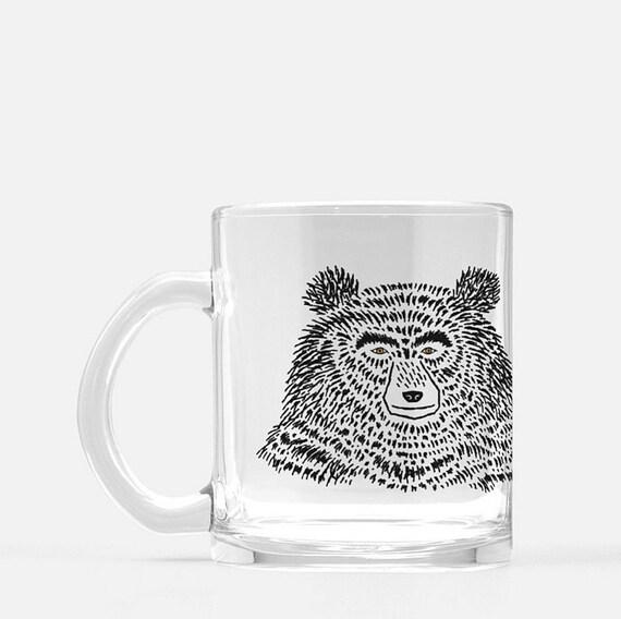 The Bear - glass mug - animal design - illustrated mug by Oliver Lake