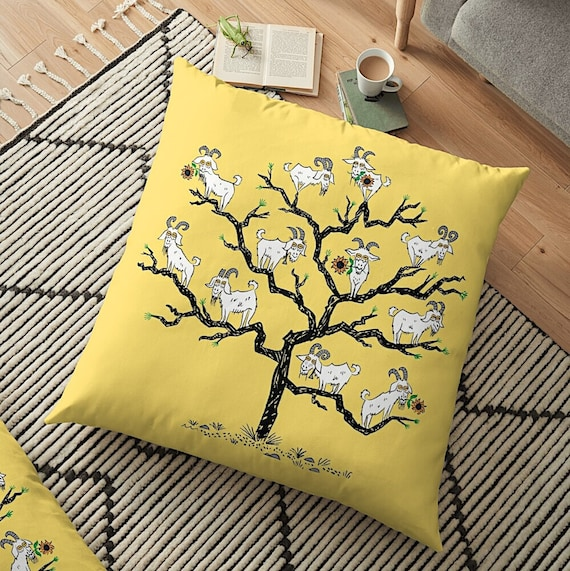 The Goat Tree - Floor Pillow Cover - 35.5 inch x 35.5 inch by Oliver Lake / iOTA iLLUSTRATION