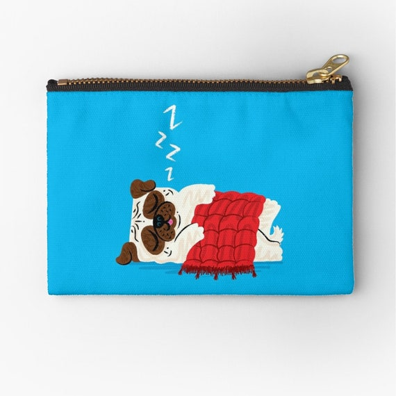 "Pug in a Rug - zipper pouch - zip pouch - pencil case - make up bag - 6"" x 4""  / 9.5"" x 6"" / 12.4"" x 8.5"" by Oliver Lake iOTA iLLUSTRATiON"