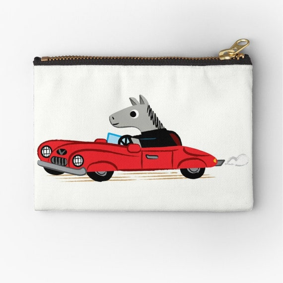 "Horse Power - zipper pouch - zip pouch - pencil case - make up bag - 6"" x 4""  / 9.5"" x 6"" / 12.4"" x 8.5"" Oliver Lake iOTA iLLUSTRATiON"