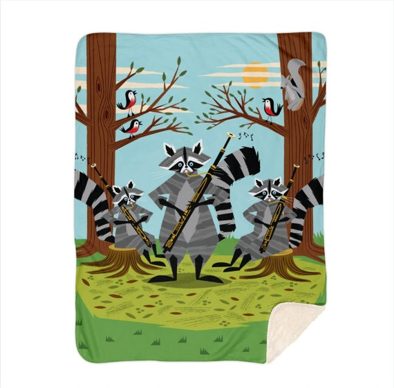 "Raccoons Playing Bassoons - children's sherpa blanket - nursery decor - 50""x 60"" and 60"" x 80""  by Oliver Lake iOTA iLLUSTRATiON"