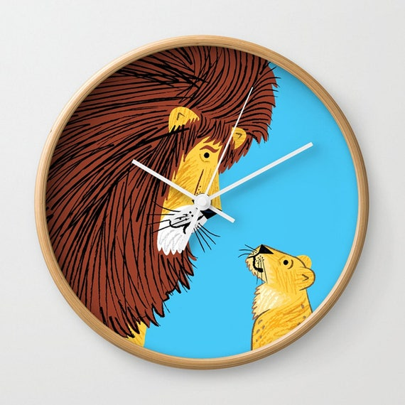 Listen To The Lion,  wall clock, children's clock by Oliver Lake