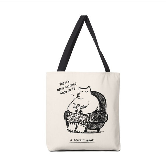 "A Grizzly Bear - Tote Bag - Book Bag - Record bag - 13"" x 13"" - 16"" x 16"" - 18"" x 18"""