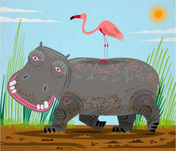 The Hippo and The Flamingo - Children's room decor - Animal Art - Nursery Decor - Ltd Edition - Art Poster Print - iOTA iLLUSTRATION