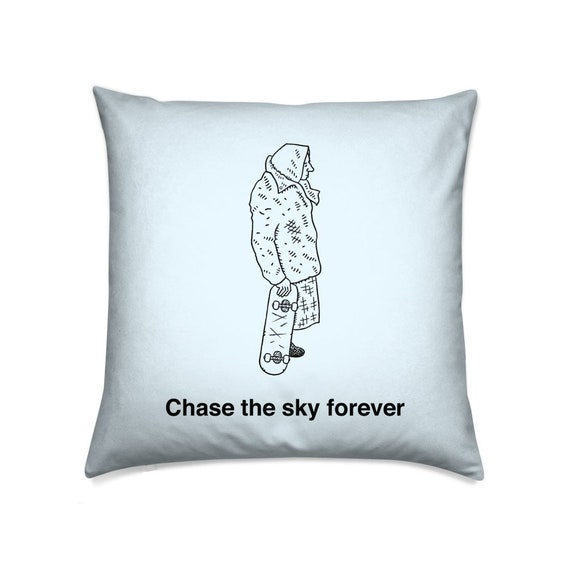 Chase the Sky, light blue, skateboarding, decorative cushion cover, throw pillow cover, including insert, by Oliver Lake