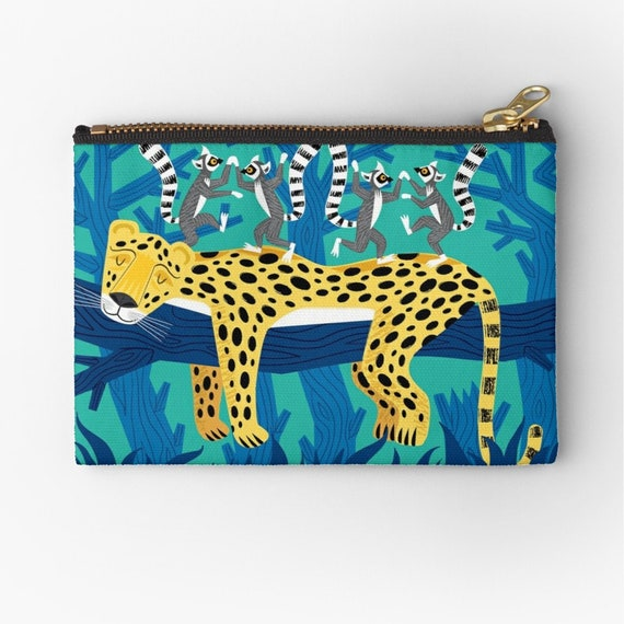 "The Leopards and the Lemurs - zipper pouch - pencil case - make up bag - 6"" x 4""  / 9.5"" x 6"" / 12.4"" x 8.5"" Oliver Lake iOTA iLLUSTRATiON"