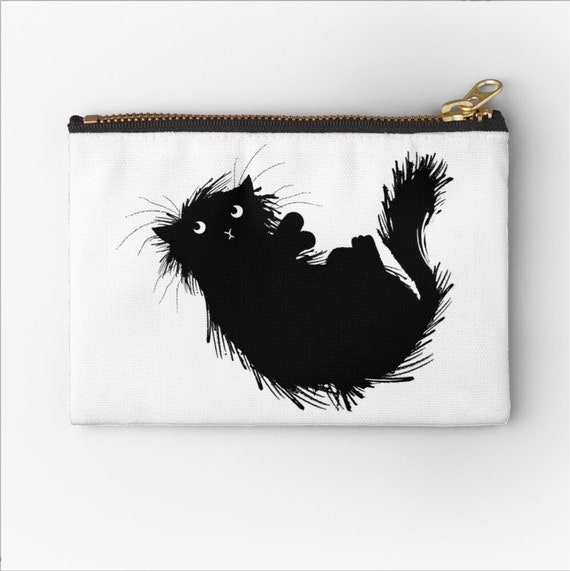"Moggy (No.3) - cat zipper pouch - zip pouch - pencil case - make up bag - 6"" x 4""  / 9.5"" x 6"" / 12.4"" x 8.5"" Oliver Lake iOTA iLLUSTRATiON"