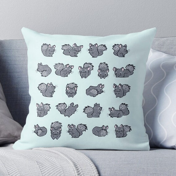 All Chinchilla No Filla - animal design - throw pillow  / cushion including insert by Oliver Lake / iOTA iLLUSTRATION