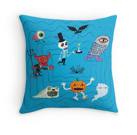 "The Halloween Parade - illustrated Cushion Cover / Throw Pillow (16"" x 16"") by Oliver Lake"