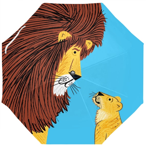 Listen To The Lion Umbrella - Auto-Foldable - 37.4 Inch (W) X 24.4 Inch (H) by Oliver Lake iOTA iLLUSTRATiON
