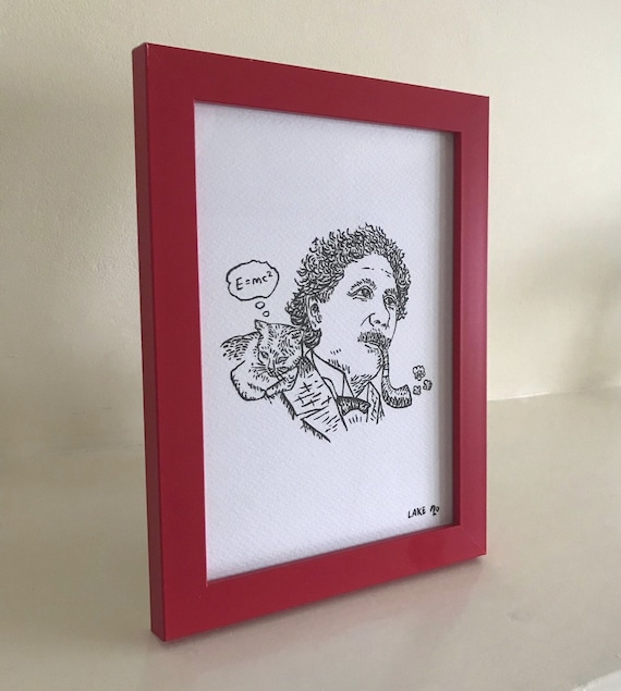 Einstein's Cat, portrait, original Drawing, funny portrait, framed drawing, red frame, 1 of 10 by Oliver Lake, Christmas Gift