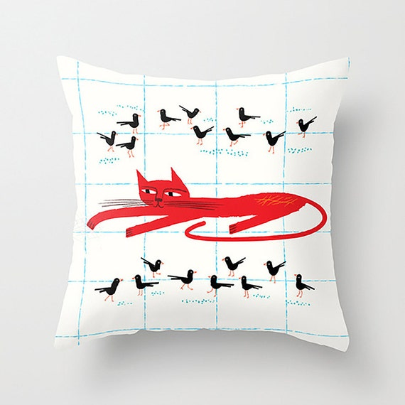 "Cat Amongst The Pigeons - Throw Pillow / Cushion Cover (16"" x 16"") iOTA iLLUSTRATION"