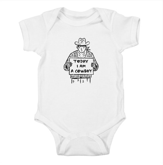 Today I am a Cowboy - Baby Bodysuit - Baby One Piece - white - light pink - red - light blue - royal blue - kelly green - iOTA iLLUSTRATION