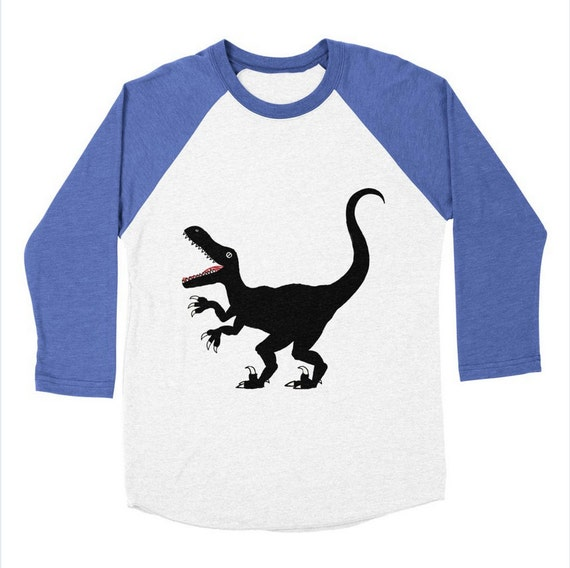 RAPTOR - Dinosaur - Long Sleeve Baseball - Triblend  T-Shirt / Tee - Mens / Womens T-shirt / Tee - iOTA iLLUSTRATiON