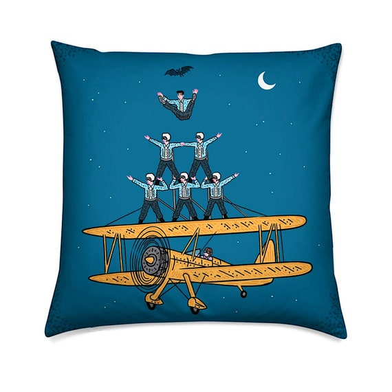 Nightfliers - cushion cover, throw pillow cover, funny, comic design, including insert by Oliver Lake