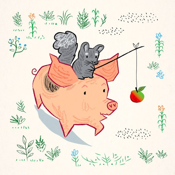 Pig and chinchilla - Meadow March - children's animal art poster print by Oliver Lake - iOTA iLLUSTRATiON