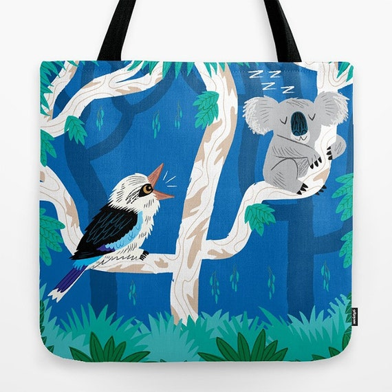 "The Koala and the Kookaburra  - Children's Tote Bag - Book Bag -  Record bag - cute animal /nature / wildlife - art bag - 18"" x 18"""