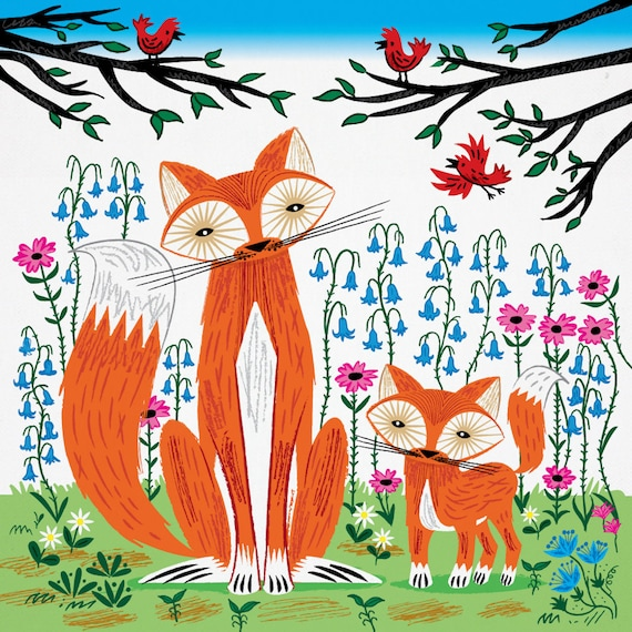 Two Fine Foxes (Spring version) - animal art print by Oliver Lake - iOTA iLLUSTRATiON