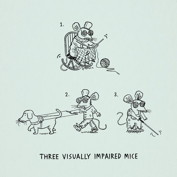 Three Visually Impaired Mice -  funny animal art print by Oliver Lake - iOTA iLLUSTRATiON