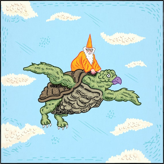 Igor and the Tahiti Turtle, wizard and monster, art print by Oliver Lake