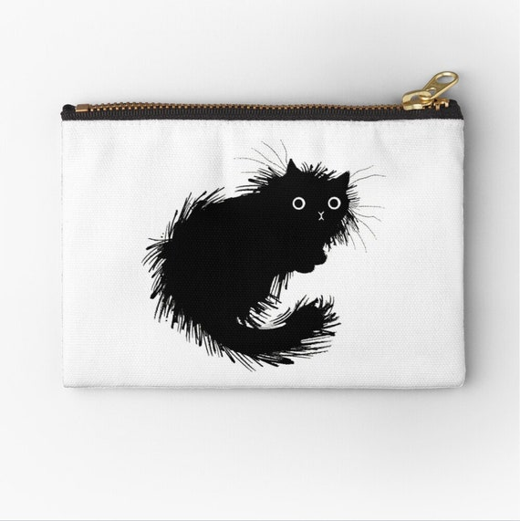 "Moggy (No.2) - cat zipper pouch - make up bag - coin purse -pencil case - 6"" x 4"" / 9.5"" x 6"" / 12.4"" x 8.5"" Oliver Lake iOTA iLLUSTRATiON"