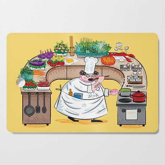 YES CHEF! - rectangular cutting board by Oliver Lake - iOTA iLLUSTRATiON