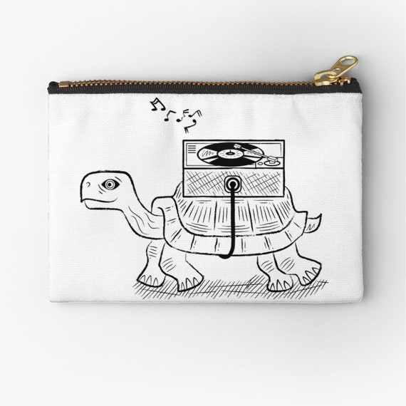 "Tortoise Wax - zipper pouch - zip pouch - pencil case - make up bag - 6"" x 4""  / 9.5"" x 6"" / 12.4"" x 8.5"" by Oliver Lake iOTA iLLUSTRATiON"