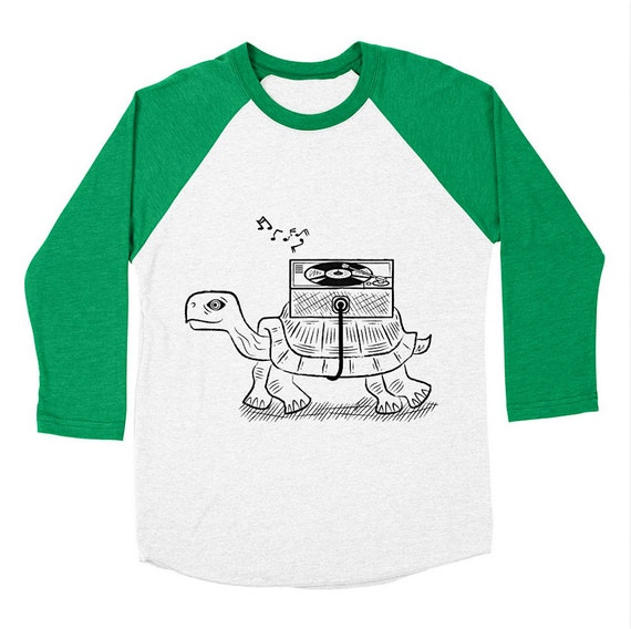 TORTOISE WAX - Long Sleeve Baseball - Modern / Retro - Triblend T-Shirt - Men's / Women's T-shirt / Tee - iOTA iLLUSTRATiON