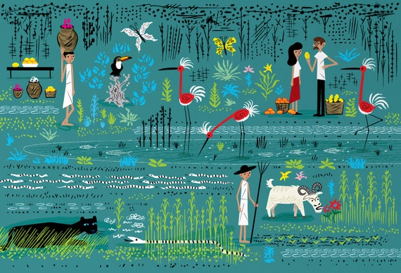 In The Marshlands -  Art Poster Print by Oliver Lake - iOTA iLLUSTRATiON