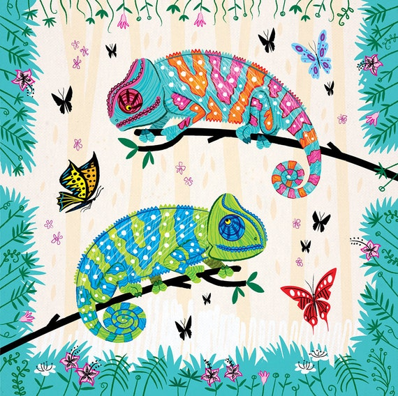 SEEING SPOTS - Chameleons and Butterflies - nature / wildlife - animal illustration - art print - iOTA iLLUSTRATiON