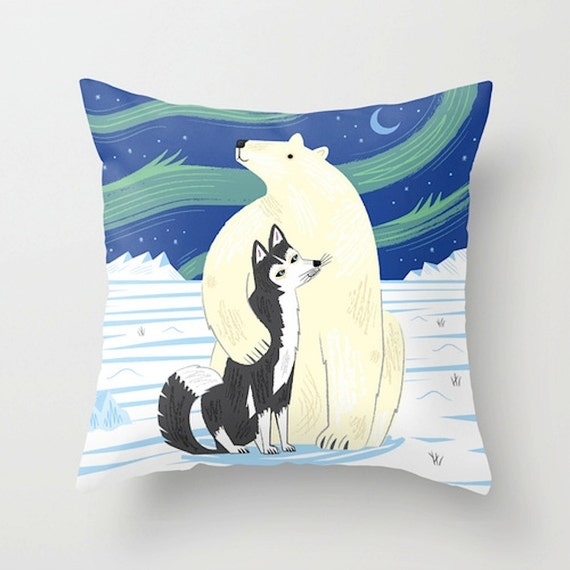 "The Polar Bear and The Husky - animal friends - Throw Pillow / Cushion Cover (16"" x 16"") by Oliver Lake"
