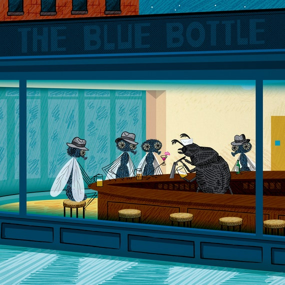 Barflies -  art poster print by Oliver Lake - iOTA iLLUSTRATiON