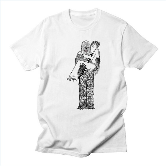 Chewy Finds a Girlfriend - Men's Star Wars inspired - white - yellow - pink - stone T-shirt / Tee by Oliver Lake iOTA iLLUSTRATiON