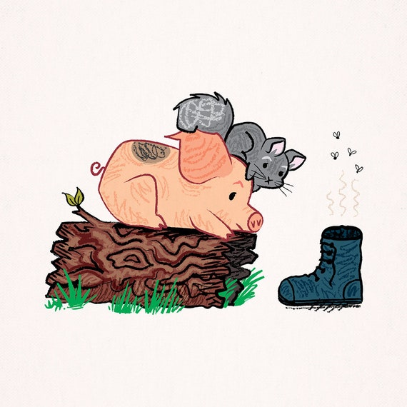 Discovered Treasure - Pig and Chinchilla - Animal Art Poster Print by Oliver Lake - iOTA iLLUSTRATiON