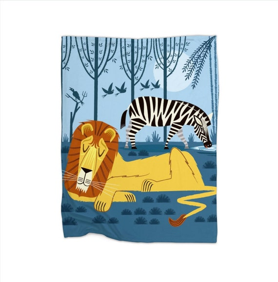 "Whilst the Lion Sleeps - children's fleece blanket - 30"" x 40"" / 50"" x 60"""