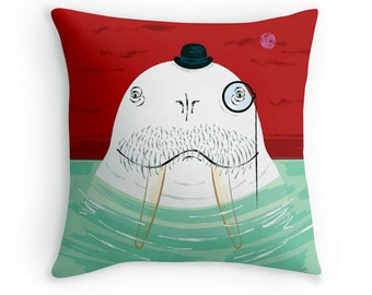 Sir Wilfred Wallace The Wonderful Walrus - Children's decorative cushion cover / throw pillow cover - by Oliver Lake iOTA iLLUSTRATiON