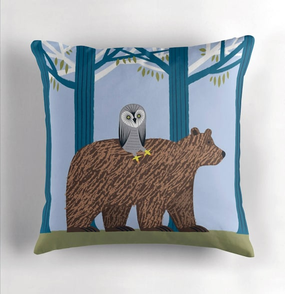 The Owl and The Bear - Children's Throw Pillow / Cushion Cover by Oliver Lake / iOTA iLLUSTRATION