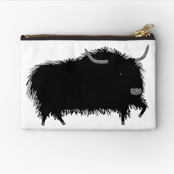 "The Yak - zipper pouch - zip pouch - pencil case - make up bag - coin pouch 6"" x 4""  / 9.5"" x 6"" / 12.4"" x 8.5"" iOTA iLLUSTRATiON"