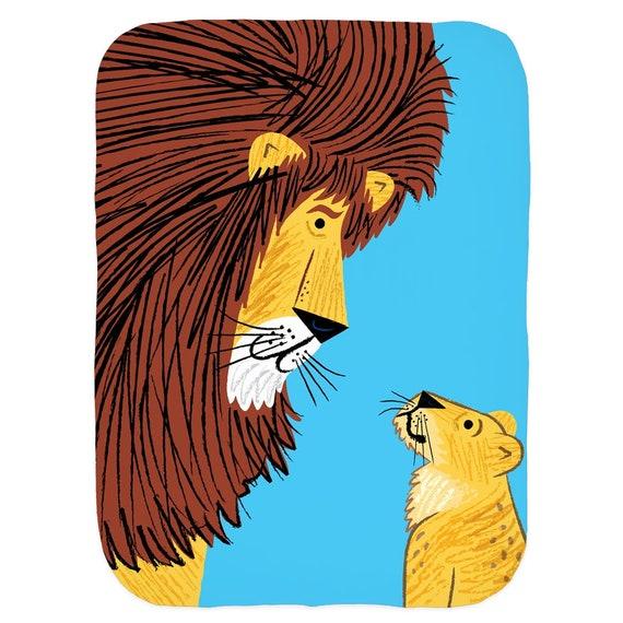 Listen To The Lion - Swaddle Blanket - Swaddling Blanket - Baby Blanket - Babies Blanket - Baby Blankets - Baby Rug  Iota Illustration
